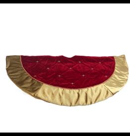 Kurt Adler Red Velvet Christmas Tree Skirt w Hand Beading 52 Inch