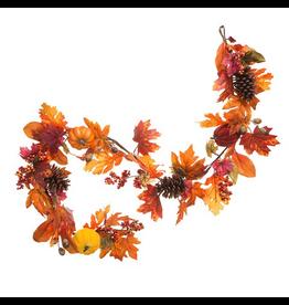 Darice Fall Maple Leaf Garland 6 feet w Pumpkins Berries Pinecones