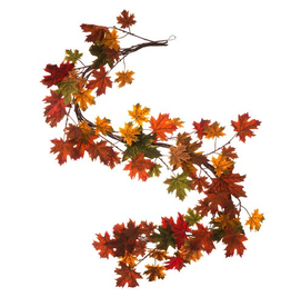 Darice Fall Leaf Garland 6 Feet w Mixed Maple Leaves