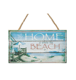 Kurt Adler Mini Wooded Beach Plaque w Home Is Where The Beach Is