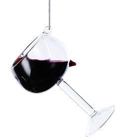 Kurt Adler Glass Wine Glass Ornament D2991-BU Burgundy 4 inch