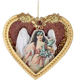 Kurt Adler Paper Angel w Feather Wings in Heart Shadow Box Ornament -D