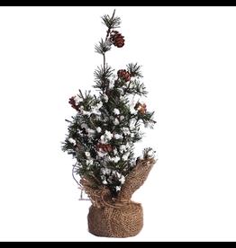 Darice Mini Christmas Tree w Snow Pine Cones Burlap Base 12 inch