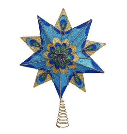 Kurt Adler Christmas Star Tree Topper Glittered Peacock 16 inch S4333