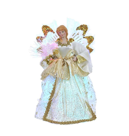 Kurt Adler Christmas Angel Tree Topper w Fiber Optic Lights 12 inch