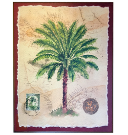 Palm Tree w Old World Background 11x14 Wood Back