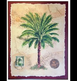 Palm Tree w Old World Background 11x14 Wood Back
