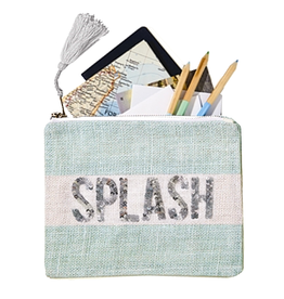 Twos Company Jute Seaside Pouch with Sequin Text Splash 51510-S