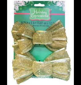 Darice Christmas Gold Mesh Bows 6.25x5 inch Set of 2