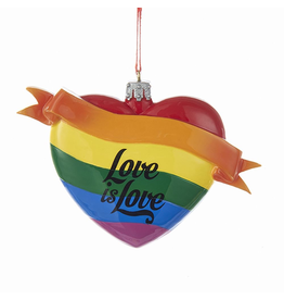 Kurt Adler Gay Pride Rainbow Heart w Love is Love Ornament 4 inch