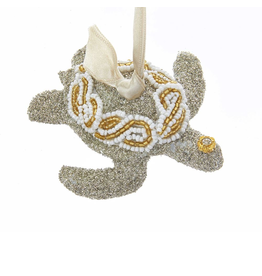 Kurt Adler Vintage Glamour Glass Glitter Sea Turtle Ornament