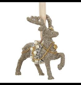 Kurt Adler Vintage Glamour Glass Glitter Reindeer Ornament 4.5 inch