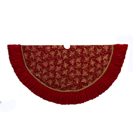 Kurt Adler Christmas Tree Skirt Red Velvet w Glitter Poinsettia 52in