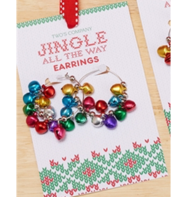 Twos Company Mini Jingle Bells Christmas Earrings Hoops Style -A