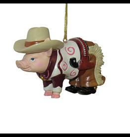 Kurt Adler Pig Ornament w Cowboy Hat Chaps Gun Holster n Boots
