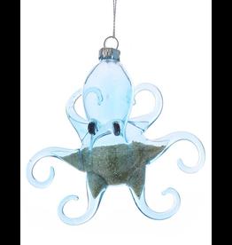 Kurt Adler Octopus Ornament Blue Glass w Beach Sand Inside - Arms Out