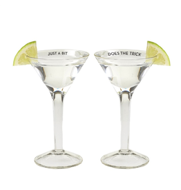 Twos Company Diet Martini Glass w Saying Shot Glasses 1.25oz Set of 2