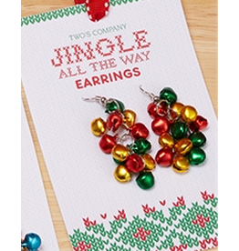 Twos Company Mini Jingle Bells Christmas Earrings Dangle Style -B