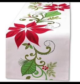 Peking Handicraft Christmas Table Runner 72L Poinsettia by Kate Spain
