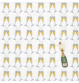 Caspari Paper Cocktail Napkins 20ct Bubbly Champagne Glasses