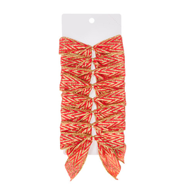 Darice Christmas Gold Red Chevron Glittered Bows 5x4.5 inch Set of 8