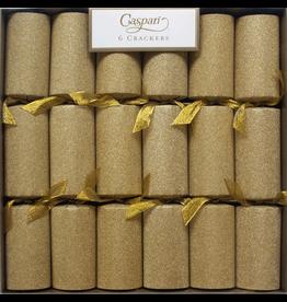 Caspari Christmas Celebration Crackers 6pk Gold Glitter With Ribbon
