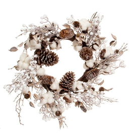 Darice Christmas Wreath Cotton Stems w Pine Cones 24 inch