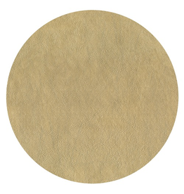 Caspari Placemats Round Felt Backed Metallic Gold Faux Leather Texture