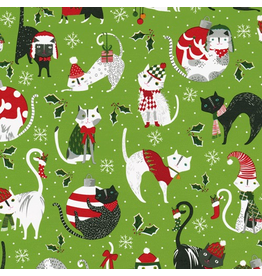 Caspari Christmas Gift Wrapping Paper 8ft Roll Yule Cats