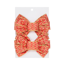 Darice Christmas Gold Red Chevron Glitter Bows 6.25x5 inch Set of 2