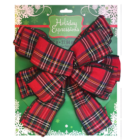 Darice Christmas Tree Topper Plaid Bow 11x22 inch