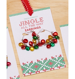 Twos Company Mini Jingle Bells Christmas Earrings Hoops Style -B