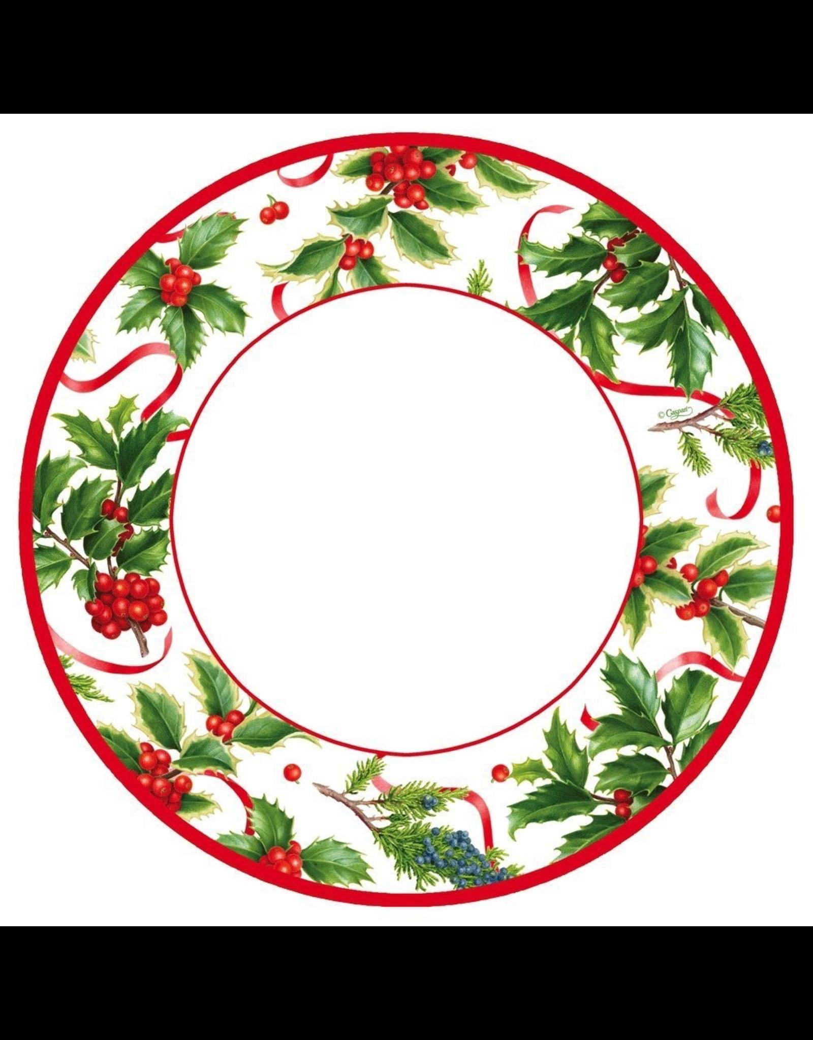 Caspari Christmas Paper Dinner Plates 8pk Round Christmas Trimmings