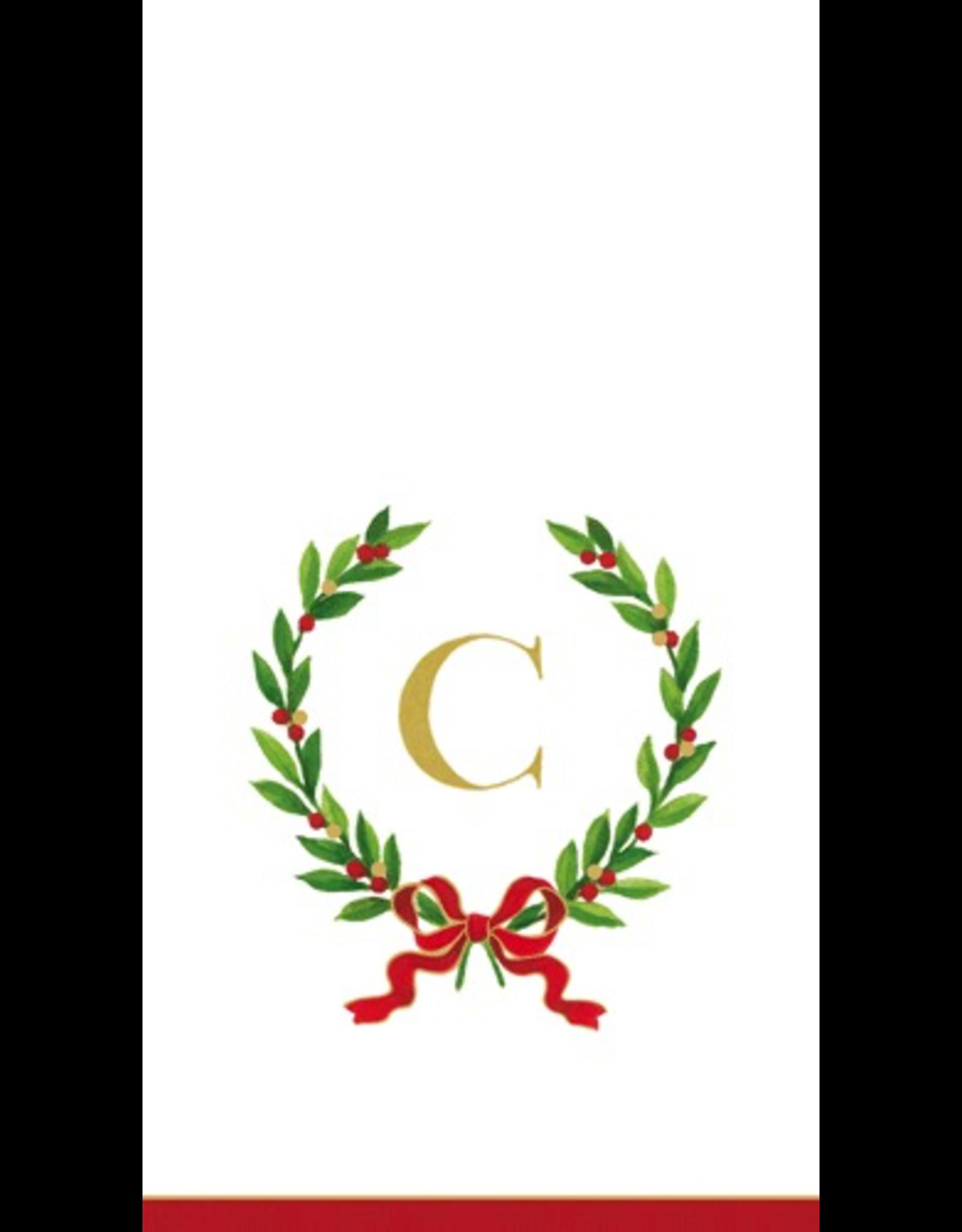 Caspari Christmas Monogram Initial C Paper Guest Napkins 20pk
