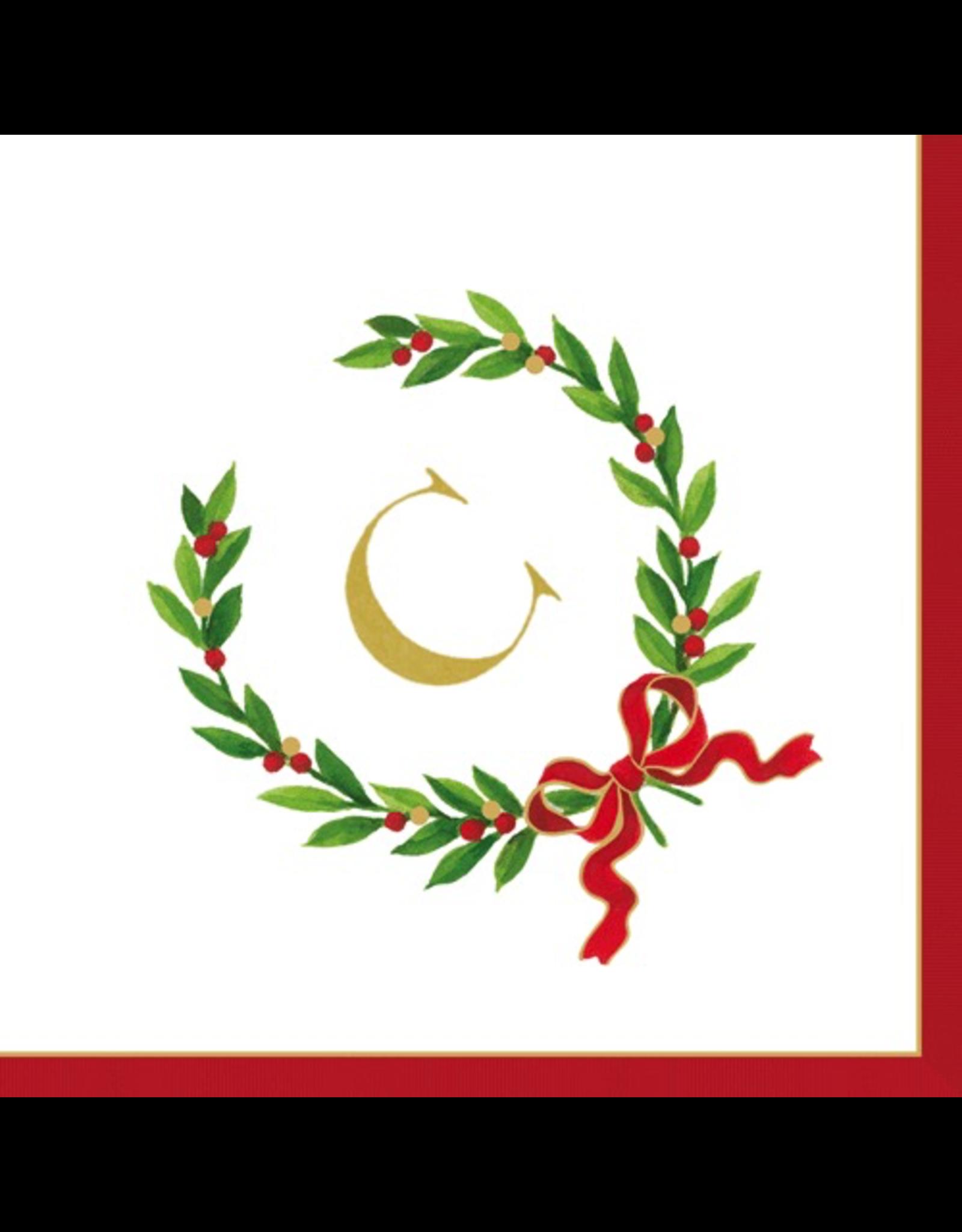 Caspari Christmas Monogram Initial C Paper Cocktail ...