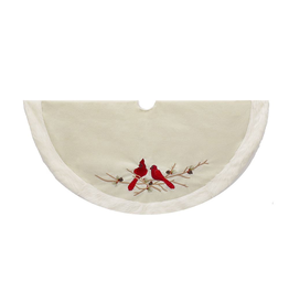 Kurt Adler Christmas Tree Skirt White w Red Cardinal w Faux Fur 48inch