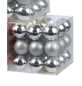 Kurt Adler Mini Glass Balls Christmas Ornaments 25MM Set of 27 Silver