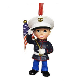 Kurt Adler U.S. Marines Corps Boy With Flag Christmas Ornament