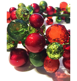 Darice Christmas Candle Ring w Colored Berries for 4.5 inch Pillars