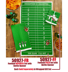 Twos Company Game Day Football FIELD Dish Towel w Bottle Opener Set