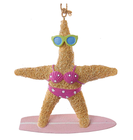 Kurt Adler Starfish Ornament on Surf Board GIRL Coastal Beach Christmas