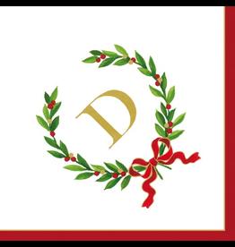 Caspari Christmas Monogram Initial D Paper Cocktail Napkins 20pk