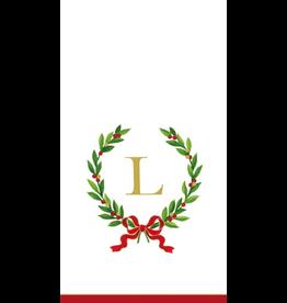 Caspari Christmas Monogram Initial L Paper Guest Napkins 20pk