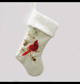 Kurt Adler Christmas Stocking White w Red Cardinal w Faux Fir Cuff