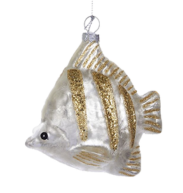 Kurt Adler Glass Silver Fish Ornament w Glittered Stripes 4.6in Gold