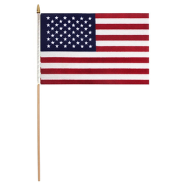 Valley Forge Hand Held U.S. American Flag 8x12 on 2ft Wood Dowel Sewn