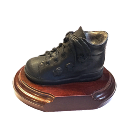 Genesis Fine Arts Bronze Baby Shoe Boot On Wood Base
