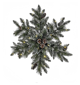 Kurt Adler Snowflake Wreath 32inch Pre-Lit LED Lights Battery Operated