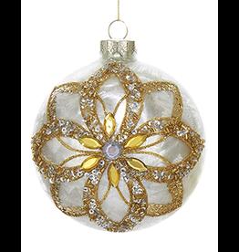 Kurt Adler Glass Ivory Ornament Gold Glitter Poinsettia Design -Ball