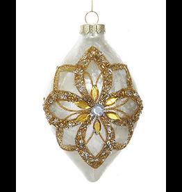 Kurt Adler Glass Ivory Ornament Gold Glitter Poinsettia Design -Finial